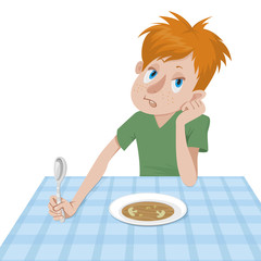 boy eating at a table