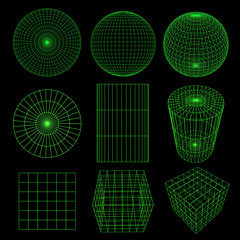 Geometry Wireframe on black,3d