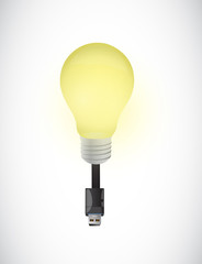 usb light bulb illustration design
