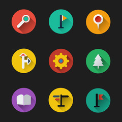 Flat UI Design - Colorful Map Icon Set