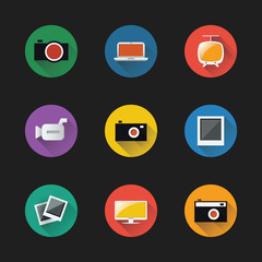 Flat UI Design - Colorful Icon Set of Electronic Devices