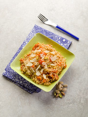 risotto with fresh tomatoes and pistachio nut