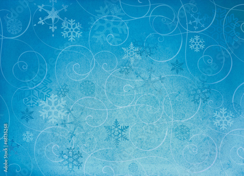 canvas print picture Textured winter snowflake backgroud with swirls.