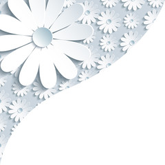 Stylish gray background with 3d white chamomile