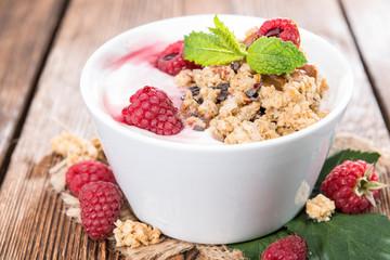 Bowl with fresh made Raspberry Yogurt