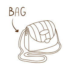 Sketchy outlined illustration of elegant striped shoulder bag