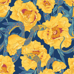 Tropical seamless flower background with snakes