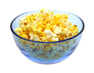 Buttered popcorn in a blue bowl