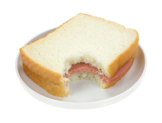 Bitten Baloney Sandwich On White Bread
