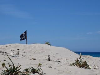 bandiera dei pirati in una spiaggia