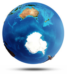 Antarctic and South Ocean real relief and water