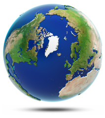 Earth north 3d map - Arctic
