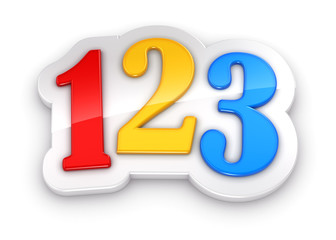 Colorful numbers 123 on white background