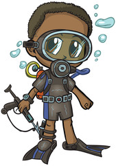 Anime Scuba Diver Boy Vector Cartoon