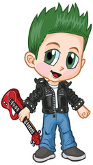 Anime Punk Rocker Boy Vector Cartoon