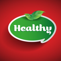 Healthy label - speech bubble