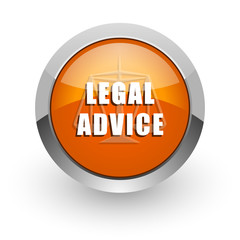 legal advice orange glossy web icon