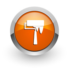 brush orange glossy web icon