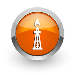 gas orange glossy web icon