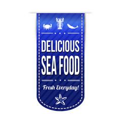 Delicious sea food banner design