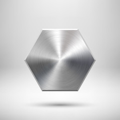 Abstract Polygon Button Template with Metal Texture