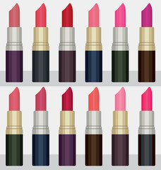 Colorful lipsticks vector set 1