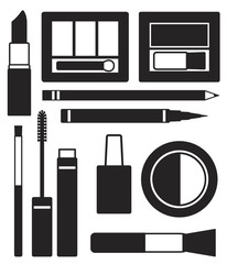 Makeup silhouette icons vector set
