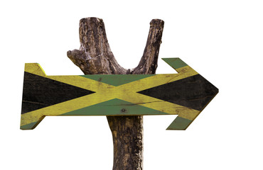 Jamaica wooden sign isolated on black background