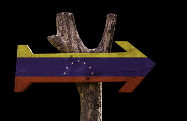 Venezuela wooden sign isolated on black background
