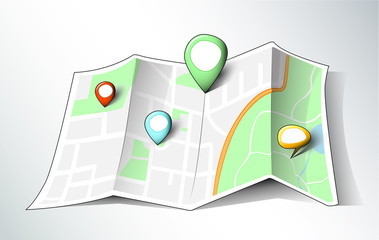 Cartoon style map with different pins
