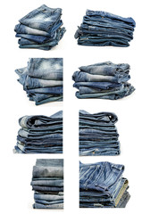 Collection of Folded Old Blue Jeans Isolated on a white