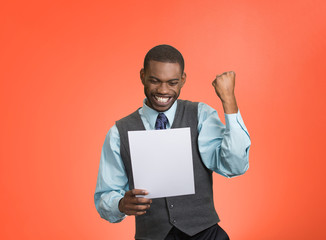 Happy man holding document receiving good news, red background