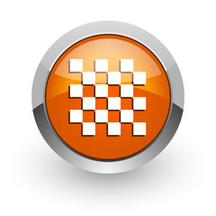 chess orange glossy web icon