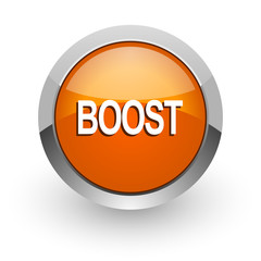 boost orange glossy web icon