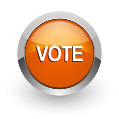 vote orange glossy web icon