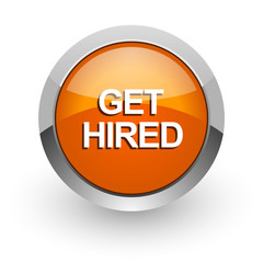 get hired orange glossy web icon