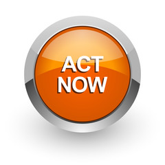act now orange glossy web icon