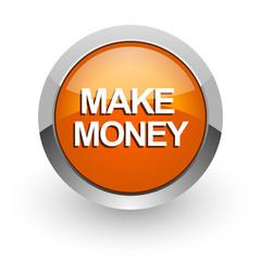 make money orange glossy web icon