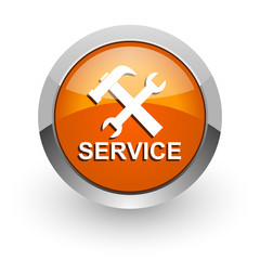 service orange glossy web icon
