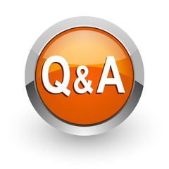 question answer orange glossy web icon