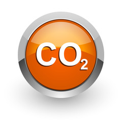 carbon dioxide orange glossy web icon