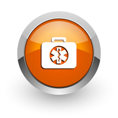 rescue kit orange glossy web icon