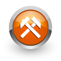 mining orange glossy web icon