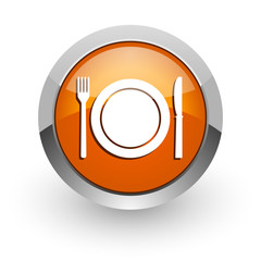 restaurant orange glossy web icon