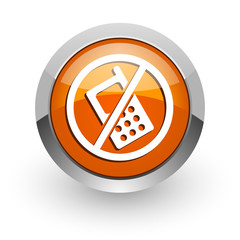 no phone orange glossy web icon