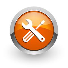tools orange glossy web icon
