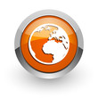 earth orange glossy web icon