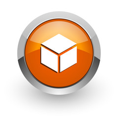 box orange glossy web icon