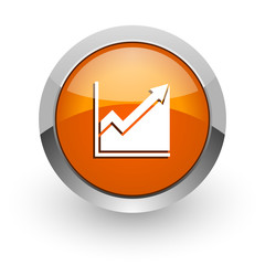 histogram orange glossy web icon