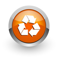 recycle orange glossy web icon